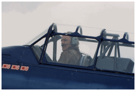 David Gilmour flying a harvard